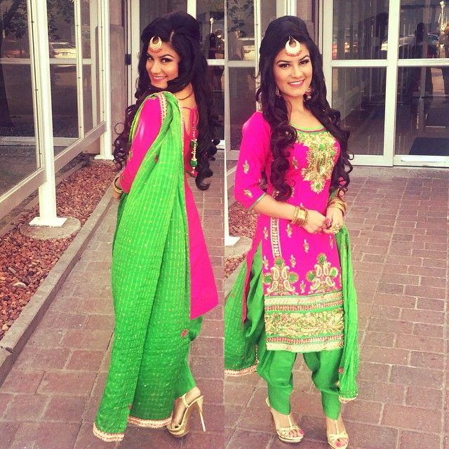 Kaur b wearing Pink and Green salwar suits