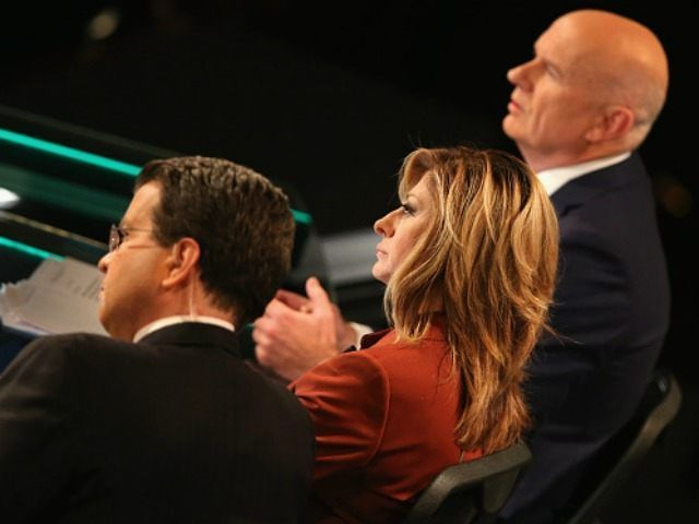 Moderator Maria Bartiromo looks on during the Republican Presidential Debate sponsored by Fox Business and the Wall Street Journal at the Milwaukee Theatre on November 10, 2015 in Milwaukee, Wisconsin. The fourth Republican debate is held in two parts, one main debate for the top eight candidates, and another for four other candidates lower in the current polls. (Photo by )