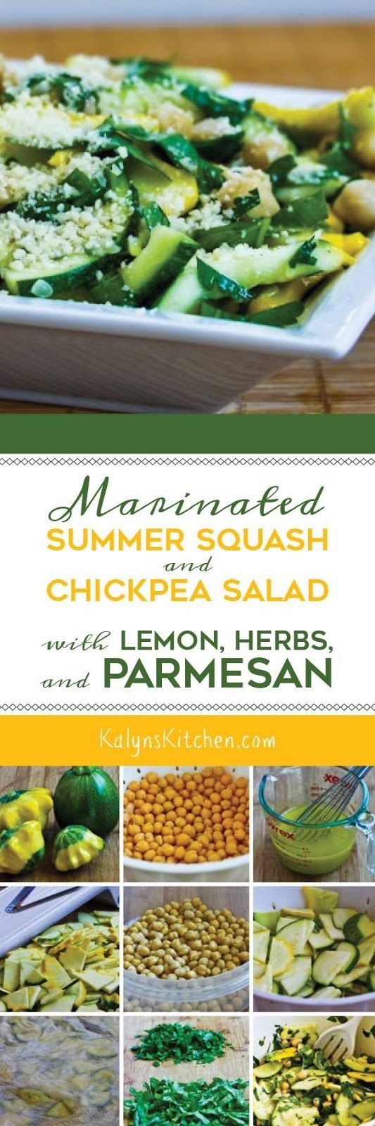 Marinated Summer Squash and Chickpea Salad with Lemon, Herbs, and Parmesan is a delicious low-glycemic salad made with raw summer squash. This tasty salad is also meatless and South Beach Diet friendly! [found on KalynsKitchen.com]