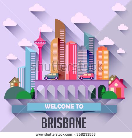 Brisbane - Flat design city vector illustration - stock vector