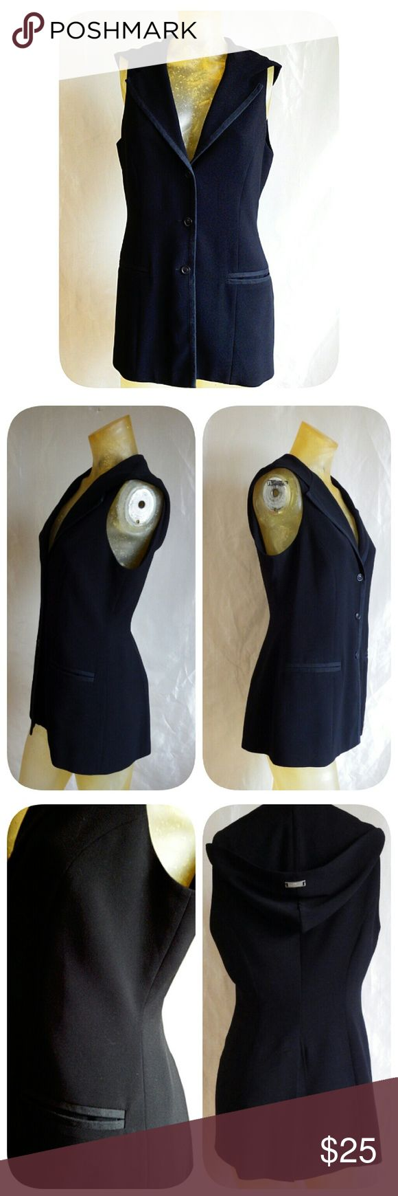 """Ivoire De Laurence - Black Hooded Vest Chic, button front vest with hood, notched collar, front pockets, tuxedo piping, back vent split, princess seams for a tailored fit. Lined in black satin. 29"""" from nape of neck to hem. 100% polyester.  Made in Paris. Size EU 44 but runs small.  Fits like a size 8 Ivoire De Laurence Jackets & Coats Vests"""
