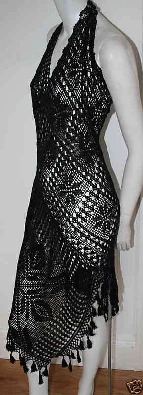 JEAN PAUL GAULTIER Black Crochet Knit Dress NEW 44 10 | eBay