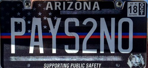 Arizona vanity license plate - PAYS2NO