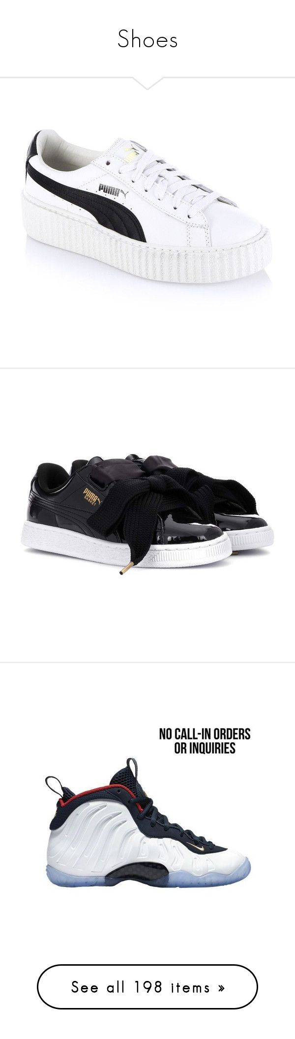 """""""Shoes"""" by akawardmermaid12 on Polyvore featuring shoes, sneakers, tenis, zapatos, puma creeper, puma trainers, white trainers, platform sneakers, white leather sneakers and black"""