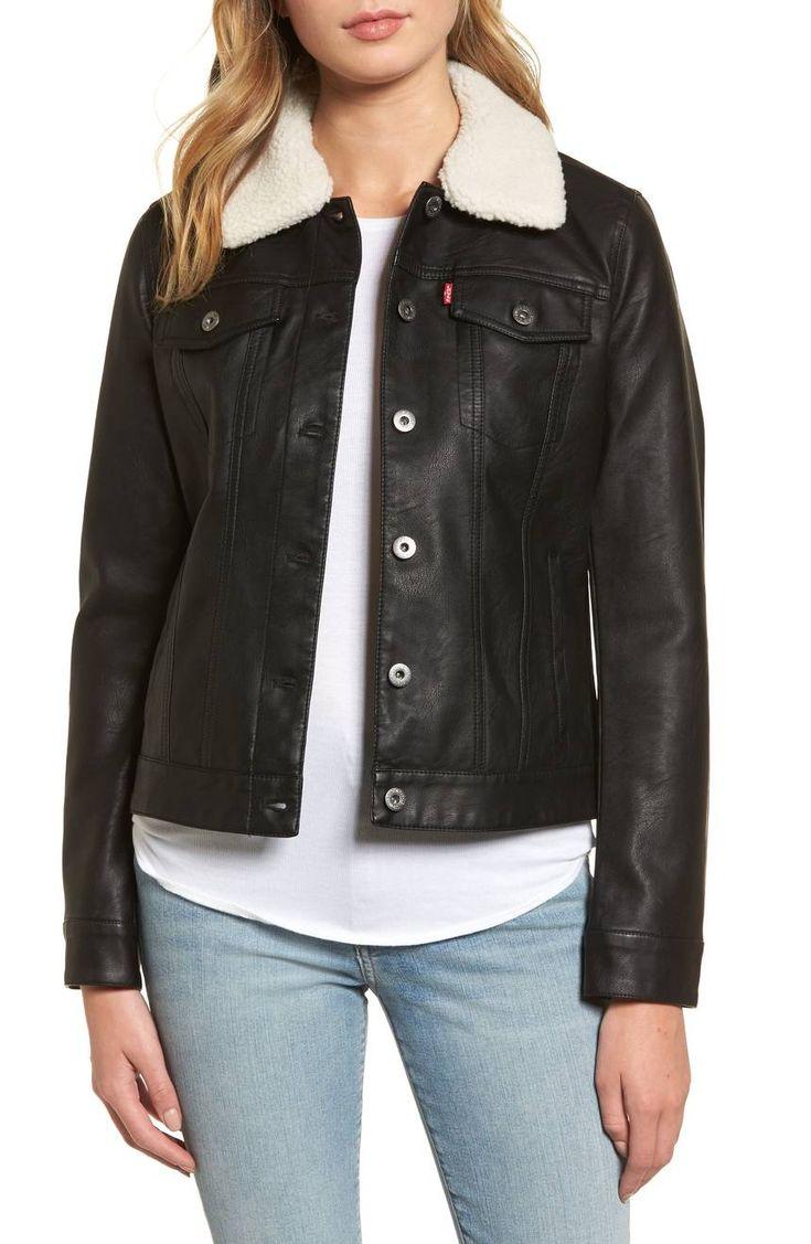 Faux Leather Jacket with Detachable Faux Fur LEVI'S®