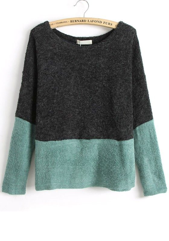 Black Color Block Patchwork Collarless Loose Knit Sweater