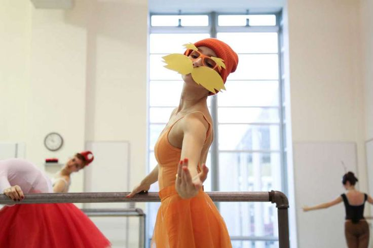 """Daena Bortnick, 20, dresses up as the """"Lorax"""" during dance practice. Students of the Pacific Northwest Ballet School's Professional Division abandoned their strict dress codes to dress up in the spirit of Halloween for their morning class on Friday, Oct. 31, 2014 in Seattle, WA. Photo: ANNA ERICKSON, SEATTLEPI.COM / SEATTLEPI.COM"""