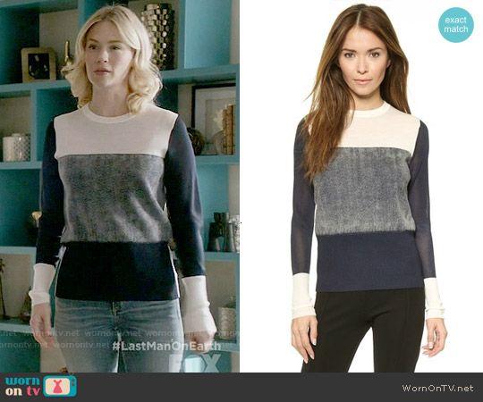 Melissa's navy colorblock sweater on Last Man on Earth. Outfit Details: https://wornontv.net/56880/ #LastManOnEarth