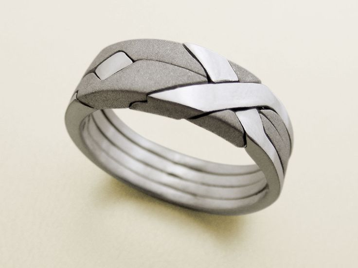 SOLID MATTE   Unique Puzzle Rings By PuzzleRingMaker   Sterling Silver Or  Gold   4 Bands. Men Wedding ...