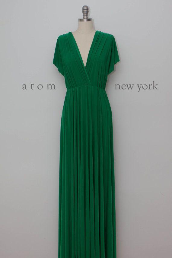 Emerald Green LONG Floor Length Ball Gown Maxi Infinity Dress Convertible Formal Multiway Wrap Dress Bridesmaid Dress Evening Dress