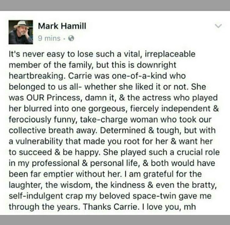 What a sweet message from Mark Hamill #RIPCarrie