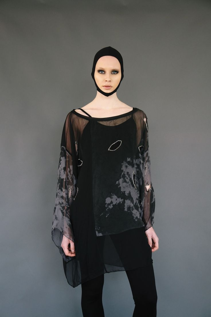 Handpainted silk blouse with holes and swarovski elements www.maurizio .gr