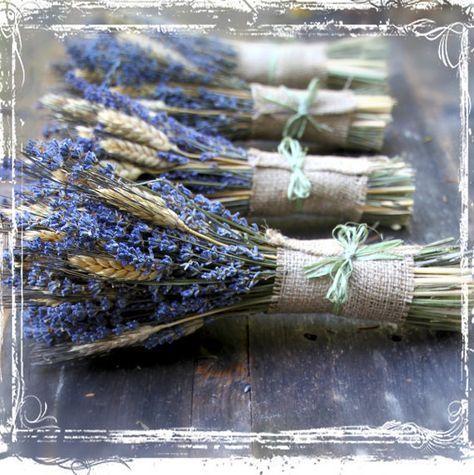 Weizen und Lavendel Hand gebunden Blumenstrauß - getrocknete Blume - Kraut Kräuter Aromatherapie - lila neutrale Sackleinen - Hochzeiten - Brautjungfern - Europäische