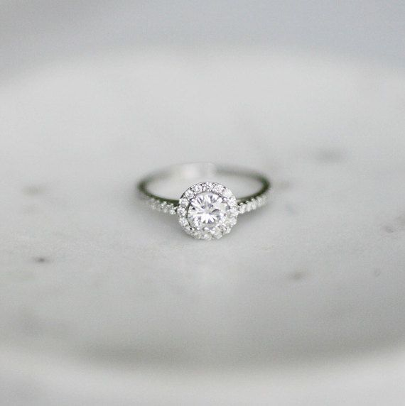 Diamond Halo Engagement Ring Round by OliveAvenueJewelry on Etsy