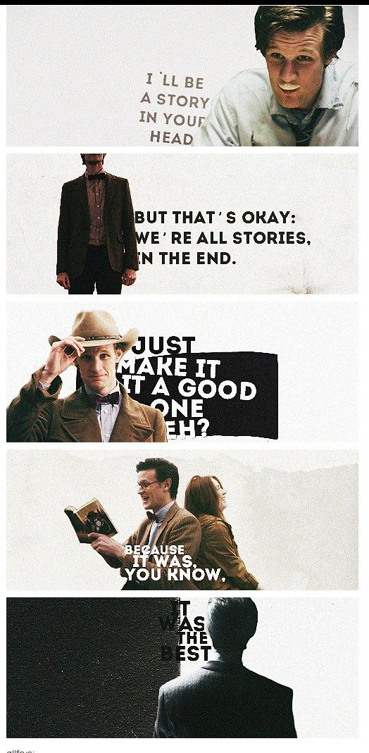 """The Doctor and Amy Pond... and the days that never came.""  This always makes me cry."