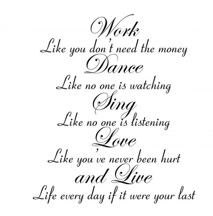 "Tekst ""Work,Dance,Sing..."""