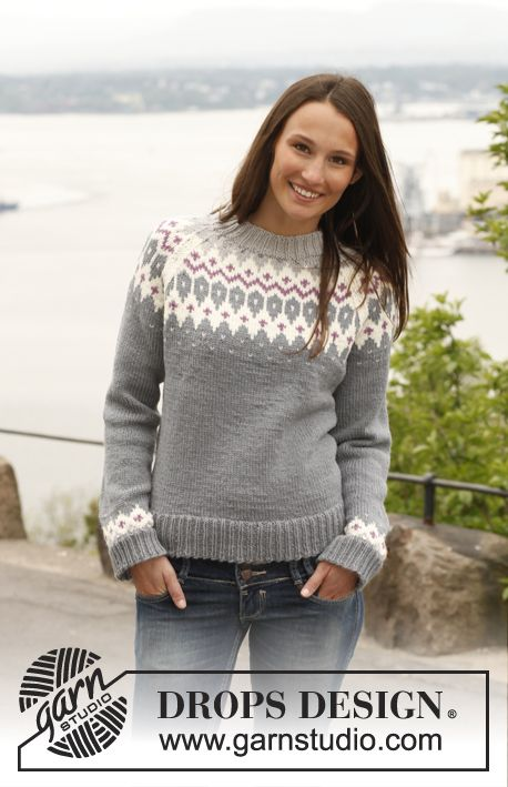 "Free pattern: Knitted DROPS jumper with raglan and pattern in ""Lima"". Size: S - XXXL. ~ DROPS Design"