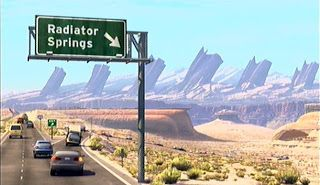 Create a Radiator Springs offramp sign and place by front door.