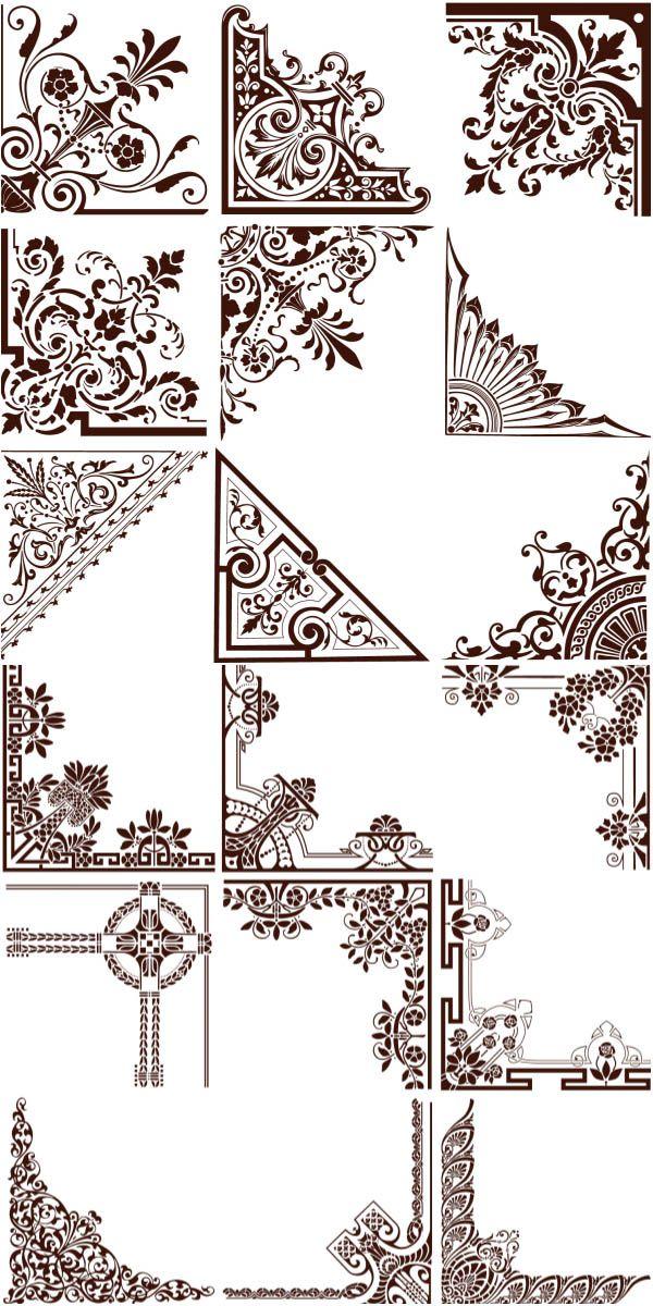 Natural ornament corners vector