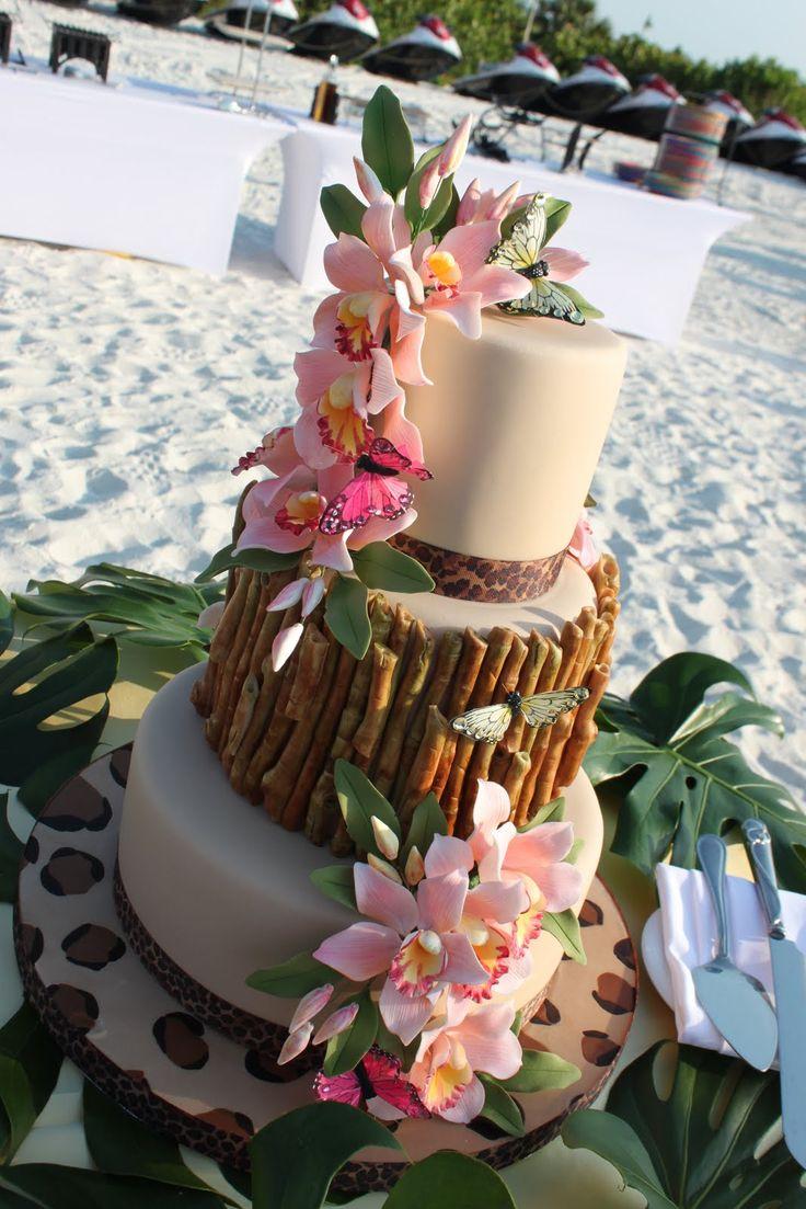 Indian Weddings Inspirations. Pink tropical Wedding Cake. Repinned by #indianweddingsmag indianweddingsmag.com #weddingcake