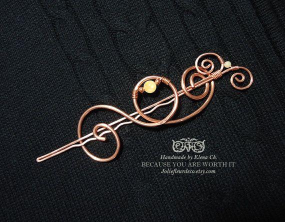 Large Copper Hair Clip, Copper Hair Barrette, Yellow Topaz Hair Stick, Topaz Hair Jewelry, Gemstone Jewelry, Bun holder, Hair Pin