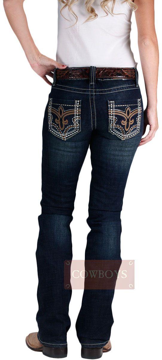 Calça Feminina Importada Cowgirl Up Arabesco em Couro. Calça jeans feminina muito confortável, jeans com algodão e strech, boca boot cut, bolsos bordados e costuras laterais marcantes. Muito indicada para mulheres que adoram o estilo country mas não deixam de ser modernas.