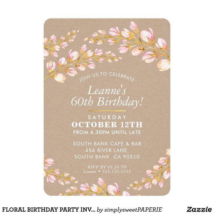 FLORAL BIRTHDAY PARTY INVITE stylish kraft pink #shopping  #birthdayinvitation #birthdayinvites #zazzlemade #zazzle #invites #invitations #floralinvite  #stylishinvitation #21stinvite #watercolorflowers #30thinvitation #40thinvitation