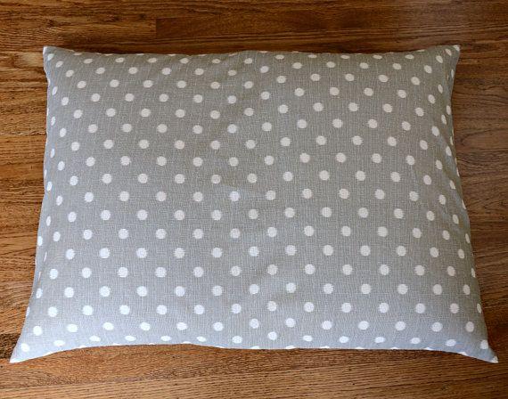 Dog Bed Cover Ikat Polka Dot Gray / White Pet Bed by thefoggydog