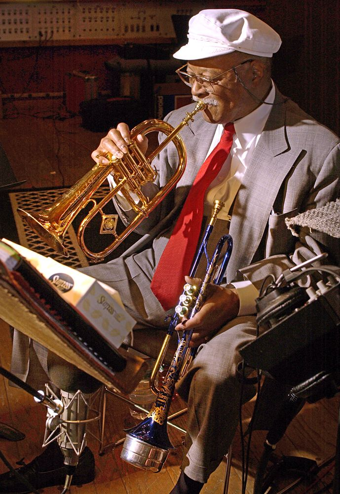 """Legendary trumpeter and composer Clark Terry seen playing two horns on one track in the 2002 """"Friendship"""" recording session. (photo: John Abbott)"""