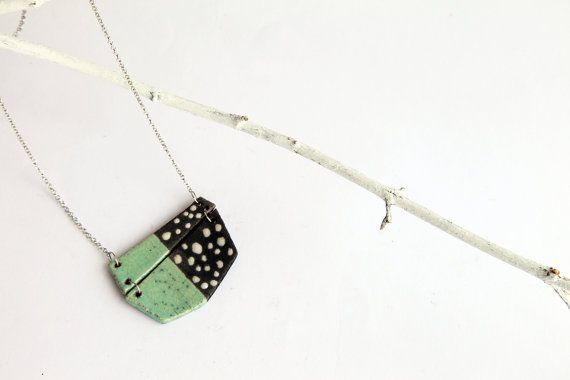geometric mint necklace in raku pottery minimalist by BottegaKrua