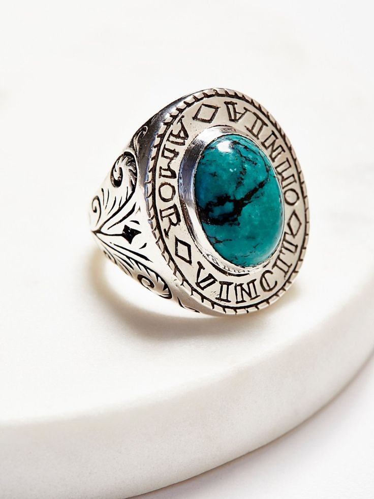 """Amour Silver Turquoise Signet Ring 
