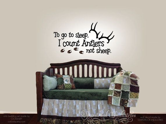 To Go To Sleep I Count Antlers Not Sheep   Wall Decal   Decal only   Baby  Boy Girl Hunting Theme Room Nursery Decor Deer Tracks Art Sticker. 17 Best ideas about Hunting Theme Rooms on Pinterest   Hunting