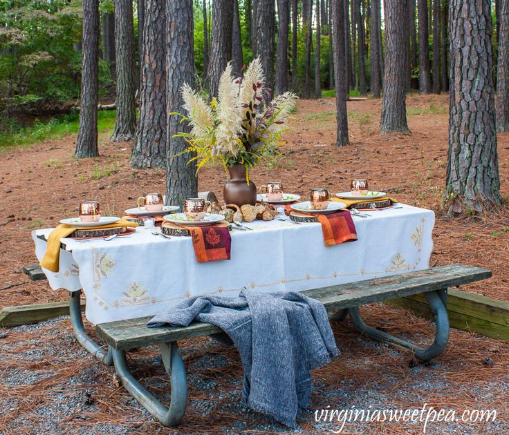 Lakeside woodland fall tablescape tablescapes fall