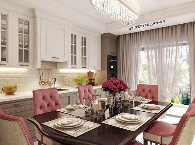 """Еще одна великолепная кухня из нашего последнего проекта. ☕️ Посмотрите, какое большое значение приобретают в интерьере розовые стулья! 👆🏼 Уберите их - и интерьер станет сразу более """"стандартным"""", менее ярким..."""