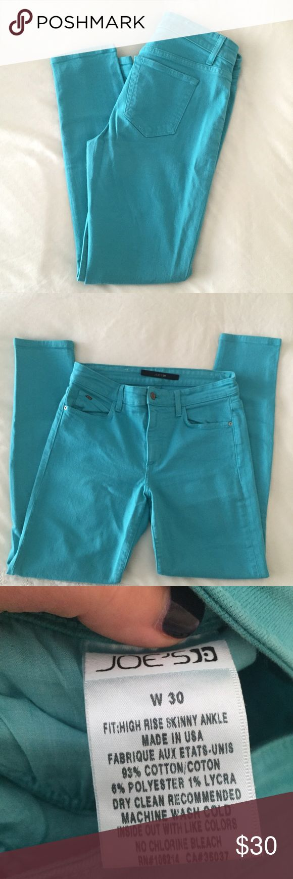 """Joe's Jeans High Rise Skinny Ankle Turquoise Pant Fun pair of colored jeans from Joe's. Beautiful turquoise color. Fit is high rise, skinny ankle. 27"""" inseam, 9.5"""" rise, 30"""" waist. Hardly worn! Joe's Jeans Jeans Skinny"""