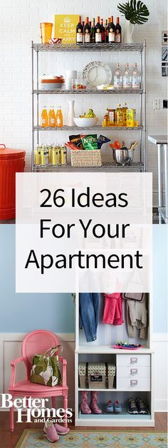 Moving into your first apartment? Make it look trendy, organized and spacious with our best ideas for decorating your apartment and adding storage and organization. Whether you live in a tiny studio or a bigger two bedroom apartment, you'll love our whole house ideas for bathroom, kitchen, bedroom and living room.