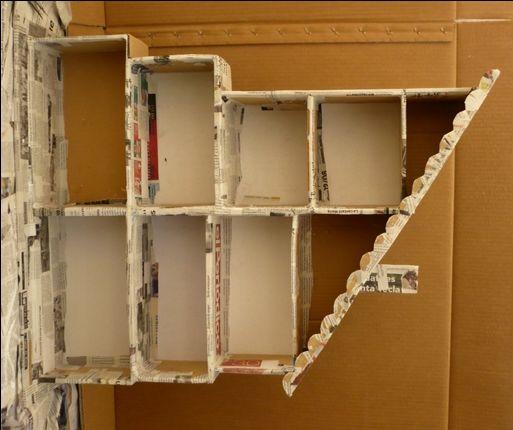 casita munecasTutorial con caja de zapatos