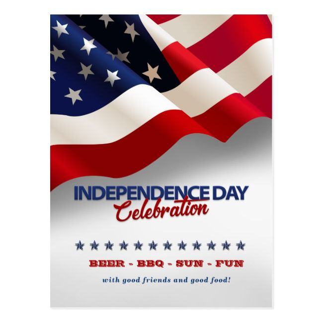 Red White Blue Flag 4th Of July Party Ivitation Postcard
