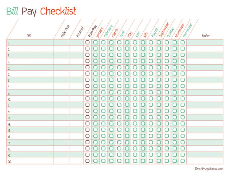 bill pay checklist | Bill Pay Checklist (Editable PDF) | The Printable Lab                                                                                                                                                                                 More
