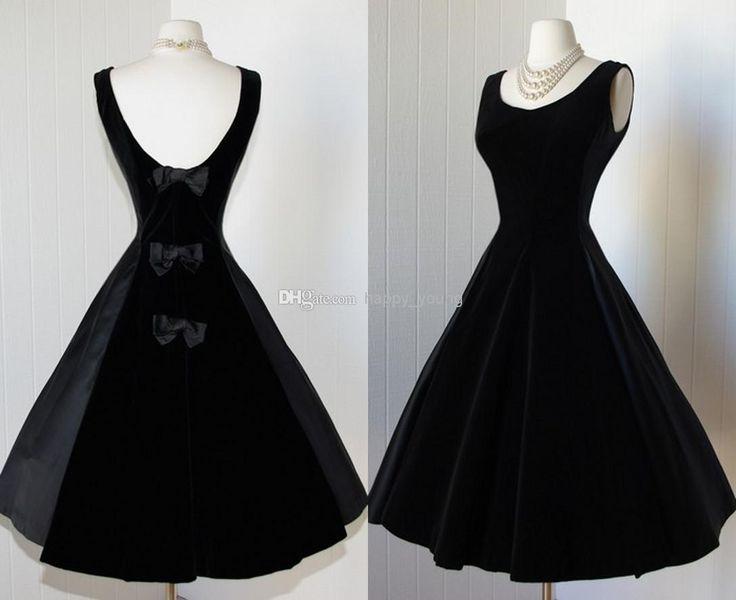 Wholesale 2014 Prom Dresses - Buy Delicate Black Satin Prom Dresses 2014 Scoop Tea Length Backless Little Black Dresses Vintage 1950s Dress Cocktail Party Dress with Bows, $107.43   DHgate