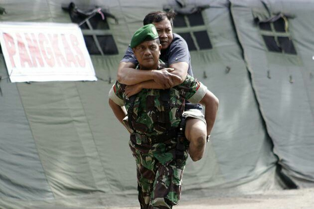 Indonesian army with Indonesian people.