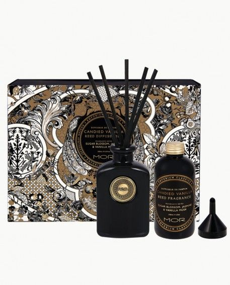 Candied Vanilla Reed Diffuser Set - An exquisite Reed Diffuser Set containing a classic scented Diffuser Fragrance, Aluminium Funnel, embellished Black Glass Flacon and Black Reeds to infuse the air with a signature fragrance and add elegance to any space.