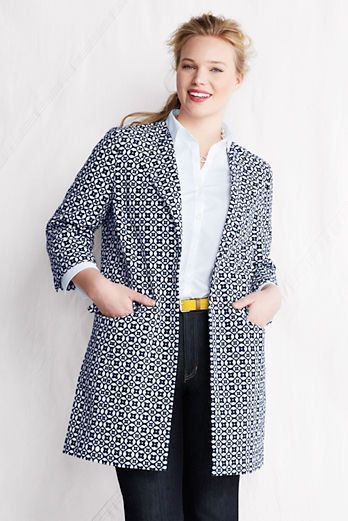 Trendy Plus size fashion for women WOMEN'S PLUS SIZE 3/4-SLEEVE COTTON JACQUARD JACKET