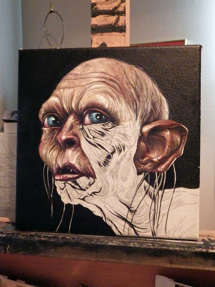 Gollum portrait (acrylic) WIP by benke33