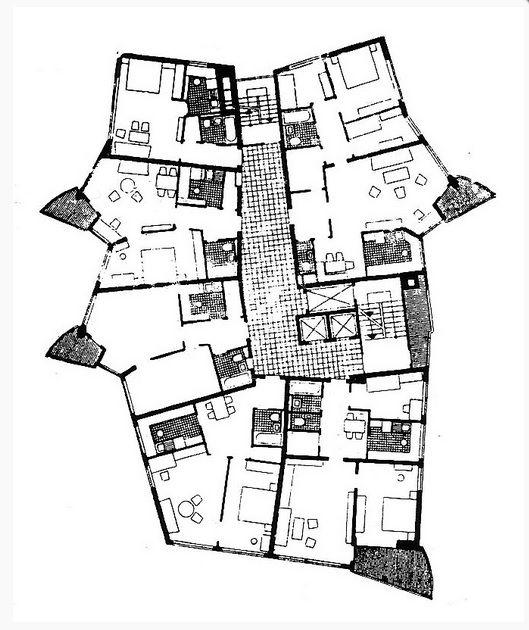 Planta tipa del edificio Romeo, en en Schwabbacher Strasse 15, por Hans Sharoun, en Stuttgart, Alemania, en 1954/1959