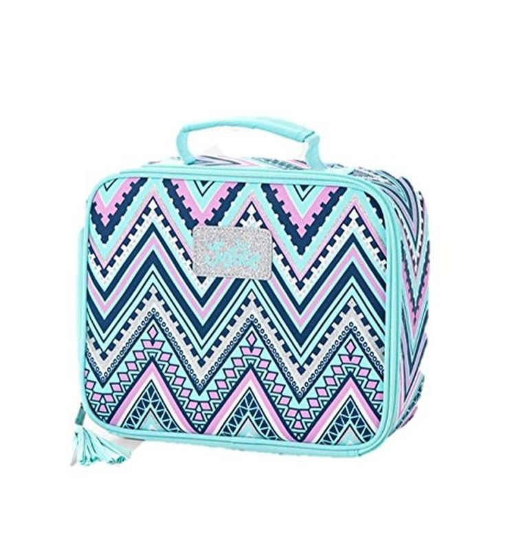 Justice for Girls Lunch Box Tote Chevron Colored Mint NWT #Justice
