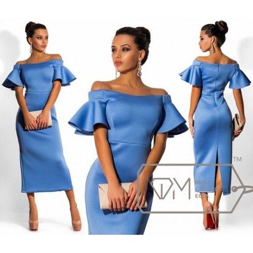 Платье из неопрена с открытыми плечами