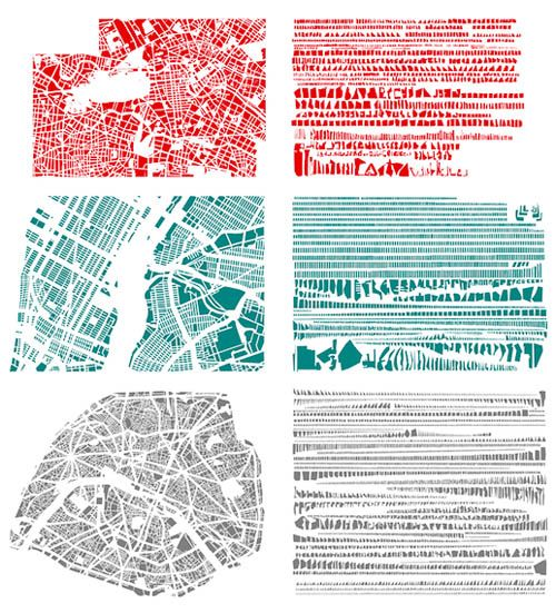 Cities organized by shape...not sure about the organization part, but I love the cities in single color. Makes them seem more unified.