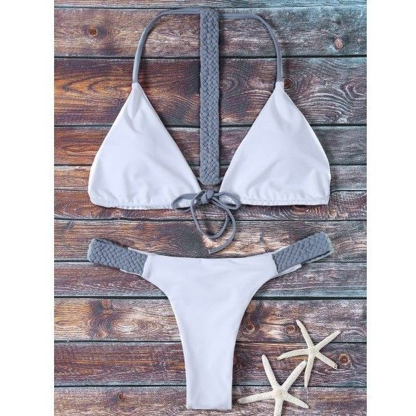 Halter Reversible Thongs Bikini ($12) ❤ liked on Polyvore featuring halter neck bikini, thong bikini swimwear, string bikini, g string bikini swimwear and halter-neck tops