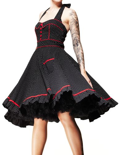 HELL BUNNY Vanity ~ Rockabilly Goth 50s Polka Dot Dress. for donnas wedding possibly since the other hell bunny i want is not available anymore!